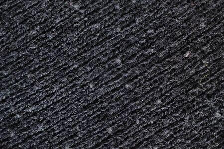 wool texture: black wool texture, diagonal lines Stock Photo