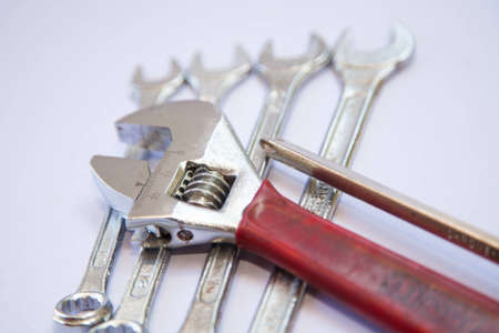 pinchers: Screwdriver and wrench auto mechanic tools  Stock Photo