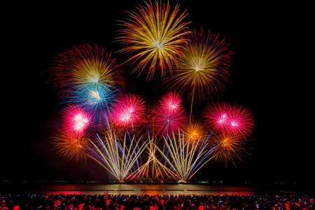 Pattaya Fireworks Festival 2020 on the east coast of the Gulf of Thailand, Pattaya beach Banque d'images