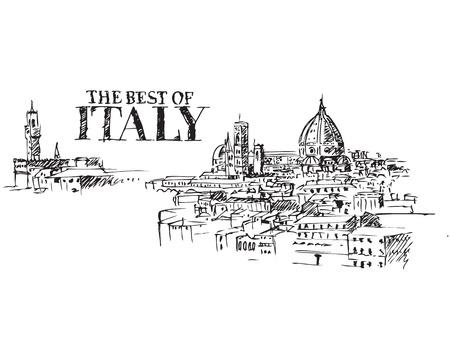 Ilustración de monumentos de la ciudad de Florencia, Italia