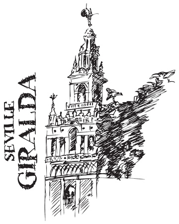 Illustration of Architectural Detail of the Giralda Cathedral Spain