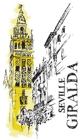 roof line: Ilustraci�n del detalle arquitect�nico de la Catedral de la Giralda de Espa�a