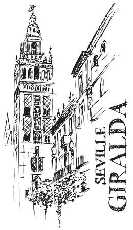 sevilla: Illustratie van architectonische details van de Giralda, kathedraal Spanje