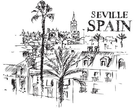 seville: Illustration of the Giralda cathedral in Seville, Spain. Illustration