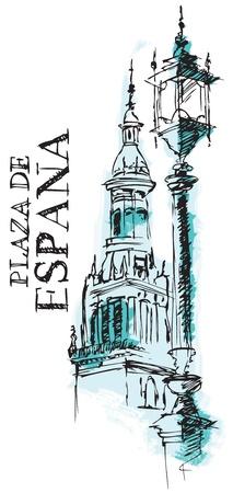 sevilla: Illustratie van Architectural Detail van de Giralda kathedraal Spanje