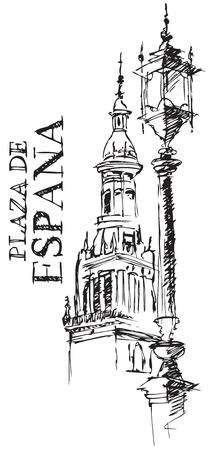 street lamp: Illustration of Architectural Detail of the Giralda Cathedral Spain