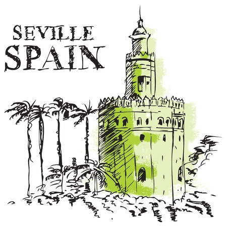 andalucia: Illustration of the Torre de Oro, naval tower in Seville, Spain