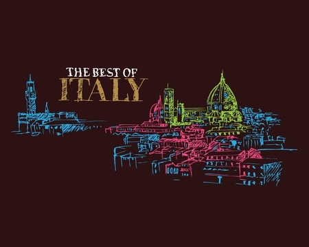 florence   italy: Illustration of city landmarks in Florence Italy