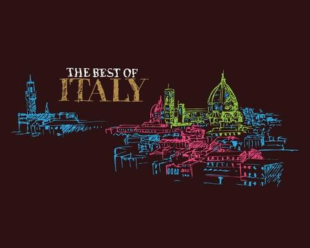 florence italy: Illustrazione dei simboli della citt� a Firenze Italia