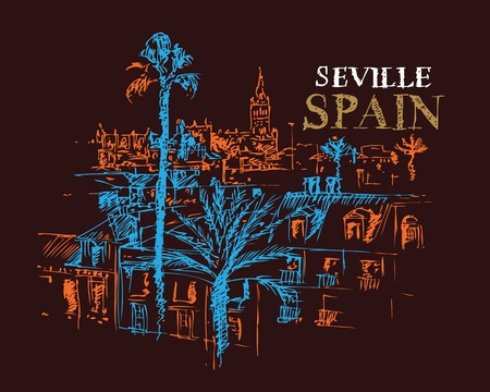 european culture: Illustration of the Giralda cathedral in Seville, Spain. Illustration