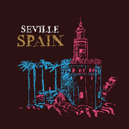 del: Illustration of the Torre de Oro, naval tower in Seville, Spain
