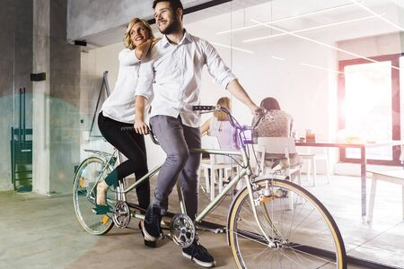 represented: Business in motion, partnership represented by twin bicycle