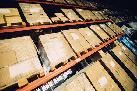 pallets: Pallets storing boxes in an industrial warehouse