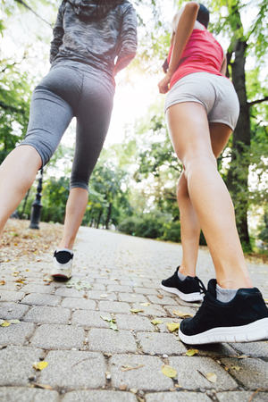 joggers: Closeup of joggers feet while in action and running Stock Photo