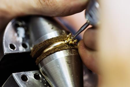 Ring being repaired , crafted by goldsmith