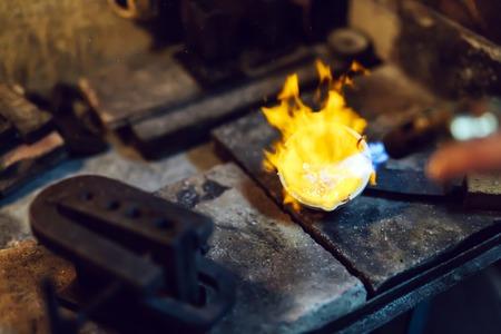 liquid state: Goldsmith melting metal to liquid state