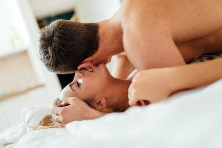 adult sex: Expression of passionate lovemaking  during foreplay