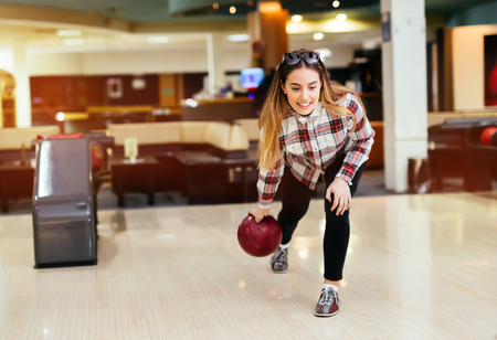 recreational: Friends enjoying recreational bowling club at