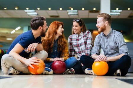 recreational: Friends enjoying recreational  bowling at club
