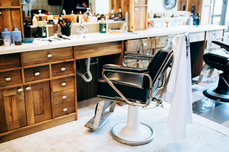 barber: Vintage barber shop interior Stock Photo