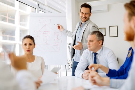 Business plan explained on flipchart by CEO to employees Stock fotó