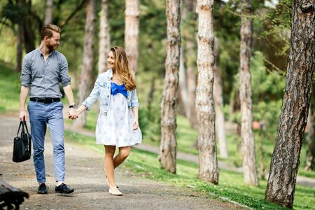 loving couple: Beautiful couple bonding by walking  in park