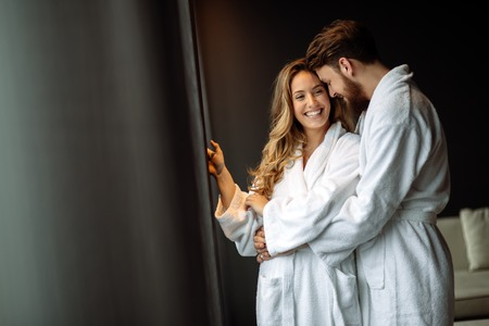 Couple enjoying wellness weekend and spa Banque d'images