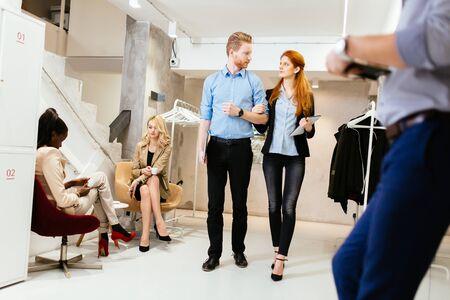 go inside: Business people in motion in modern office
