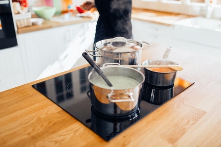 domesticity: Organic lunch being made in modern kitchen