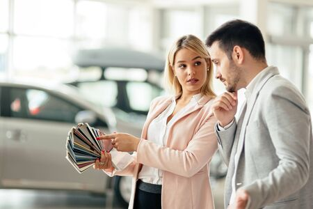 It is difficult to pick the right color for new car Stock Photo