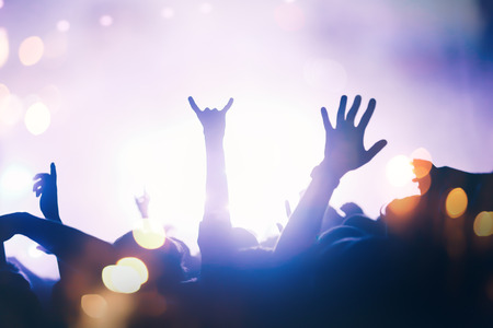 Crowd enjoying festival and live music concerts Stock Photo