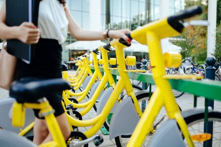 Rentable eco city bikes at disposal