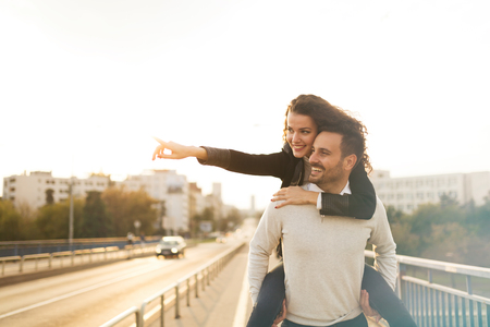 love life: Couple having fun outdoors and exploring city