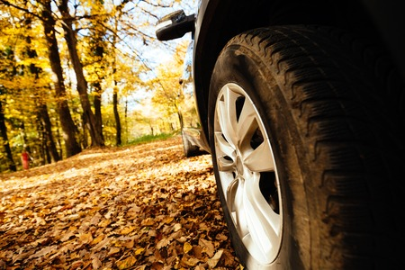 traction: Tyres fitted on car for off road and slippery roads Stock Photo