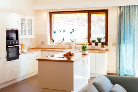 kitchen appliances: Modern white kitchen equipped with appliances Stock Photo