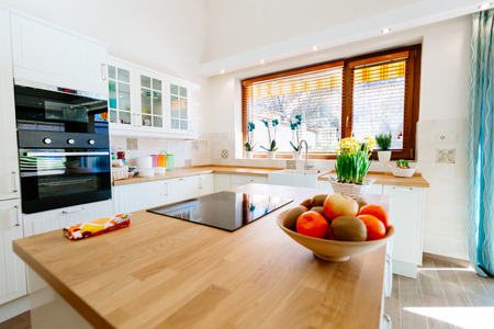 Modern bright equipped kitchen Stock Photo