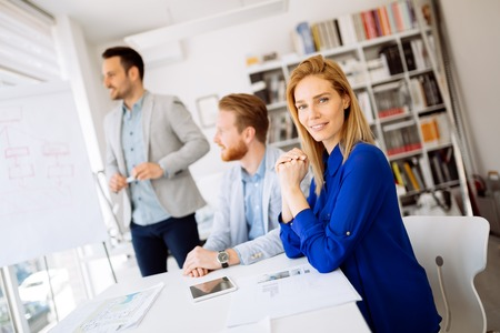 Successful ceo businesswoman working with employees
