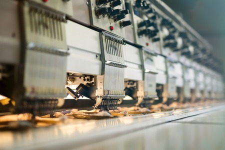 Fabric industry machinery production line Stock Photo
