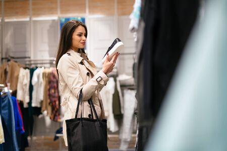 Woman shopping trendy footware