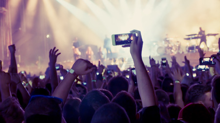 Ventilador tomando fotos de concierto en el festival