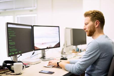 ソフトウェアの開発会社で働くプログラマー