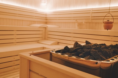 Healthy finnish sauna interior with decoration Stock Photo