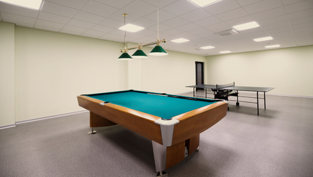 snooker hall: Beautiful snooker table in recreation room Stock Photo