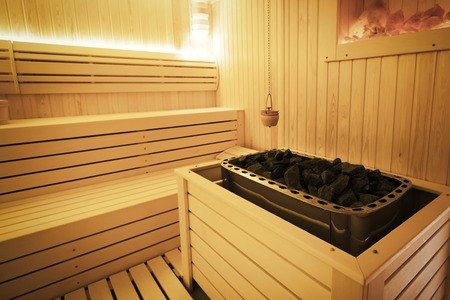 Healthy finnish sauna interior with decoration Stock Photo