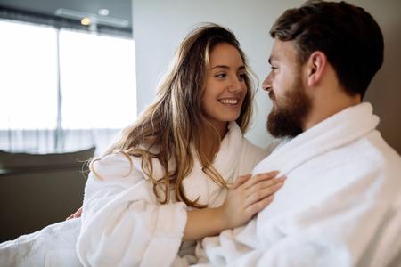Romantic couple enjoying honeymoon and wellness treatments Stock Photo