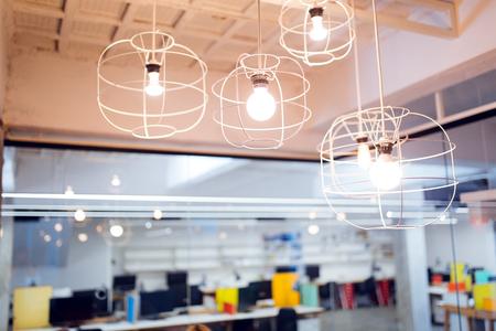 Hanging modern decorative light bulbs Stock Photo