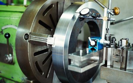 Cnc metal milling lathe machine in metal industries factory Stock Photo