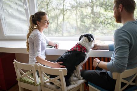 아름 다운 부부 집에서 편안 하 고 그들의 강아지를 사랑 스톡 콘텐츠