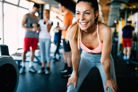 Close up image of attractive fit woman in gym Stock Photo