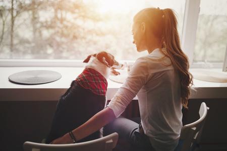 美しい女性の自宅に彼女の犬と過ごす時間が幸せ